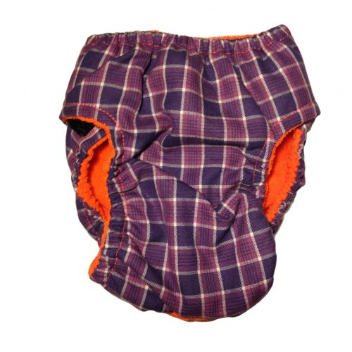 purple checker diaper - back