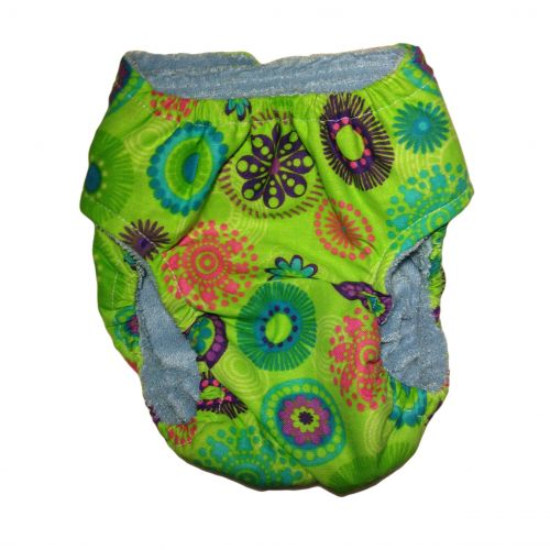 green kiwi flower diaper - back