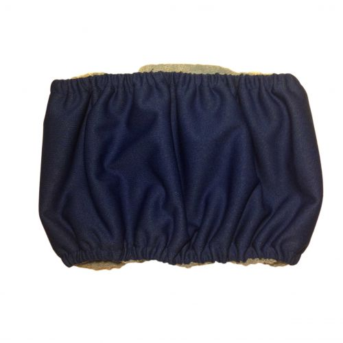 dark blue PUL belly band - back
