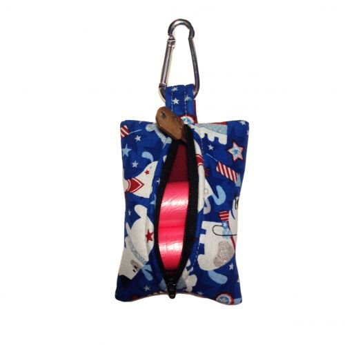 patriotic doggie poop bag dispenser - back open