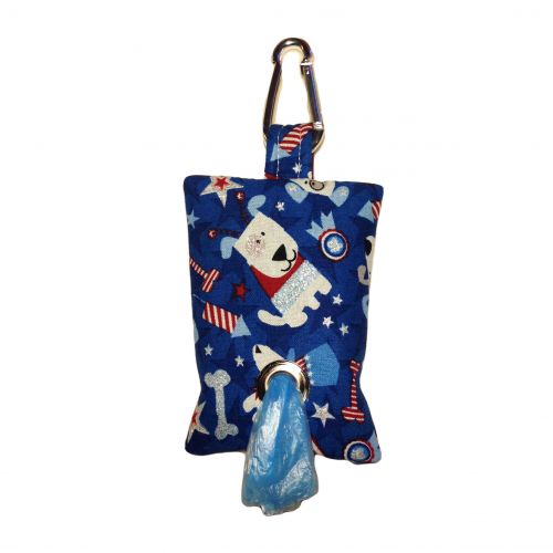patriotic doggie poop bag dispenser - front