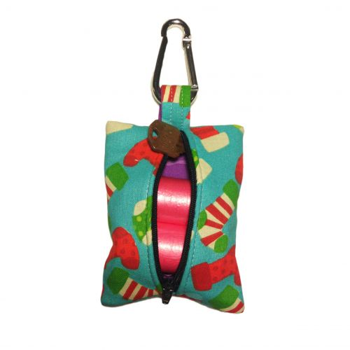 christmas stocking poop bag dispenser - back open