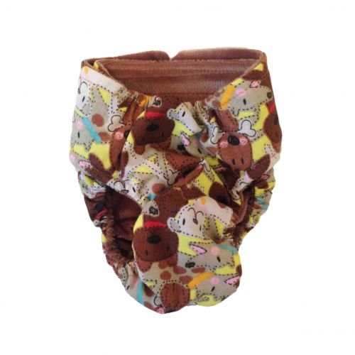 brown doggie with bones diaper - back