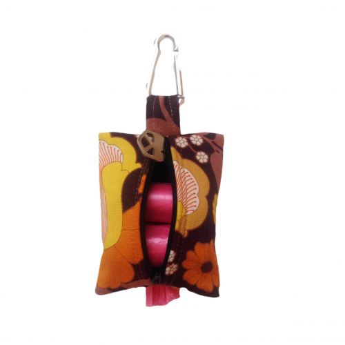 brown and yellow flowers  poop bag holder - back