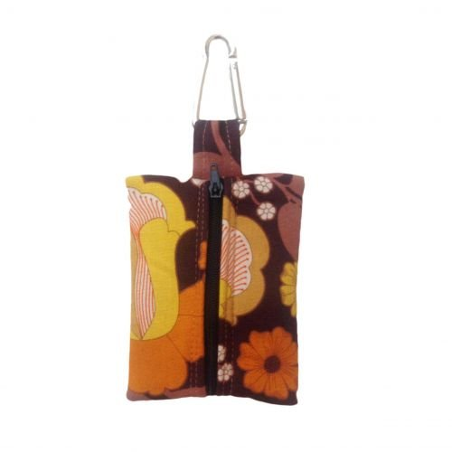brown and yellow flowers  poop bag holder - empty back