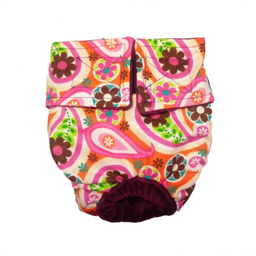 paisley flower on pink diaper