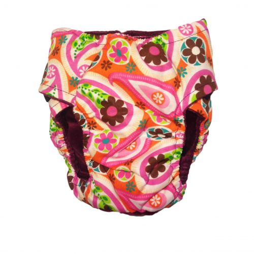 paisley flower on pink diaper - back
