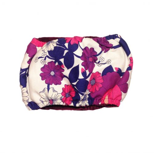 purple flower on white belly band - back