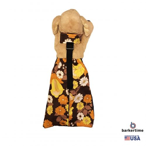 brown and yellow flowers drag bag - model 2