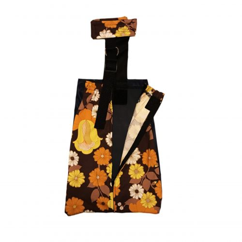 brown and yellow flowers drag bag - open