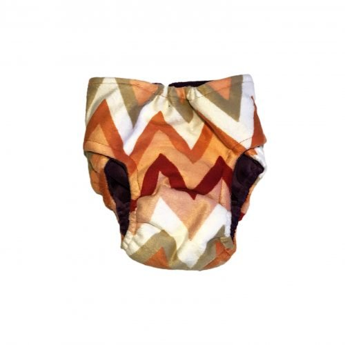 orange and red chevron minky diaper - back