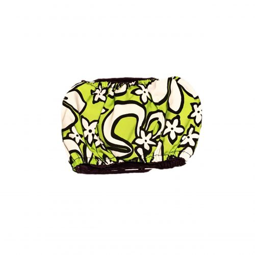 white hawaiian hibiscus on lime green belly band - back