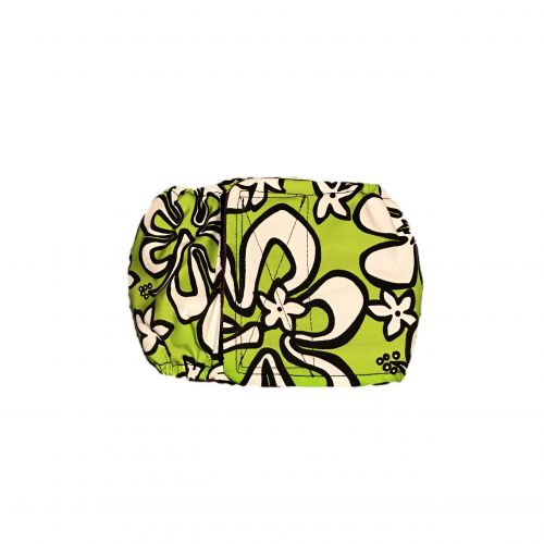 white hawaiian hibiscus on lime green belly band