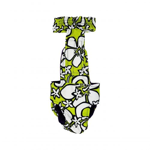 White Hawaiian Hibiscus Flower on Lime Green diaper overall - new - back
