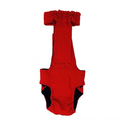 cherry red diaper overall - back