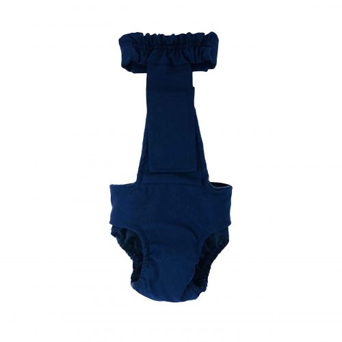 navy blue diaper overall - back
