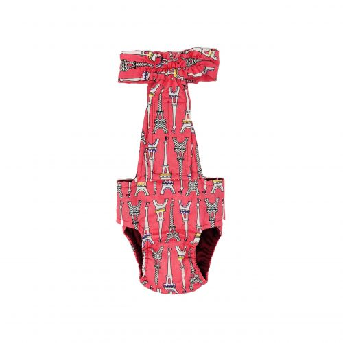 paris eiffel tower on pink diaper overall - new - back