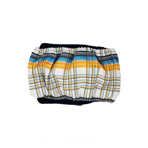 blue and yellow plaid belly band - back
