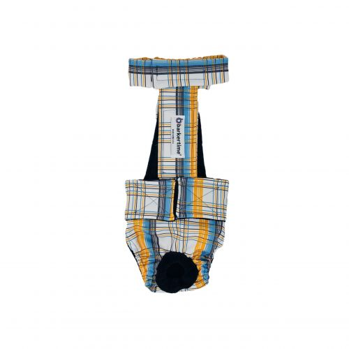 blue and yellow plaid diaper overall