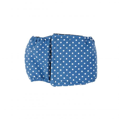white polka dot on baby blue belly band