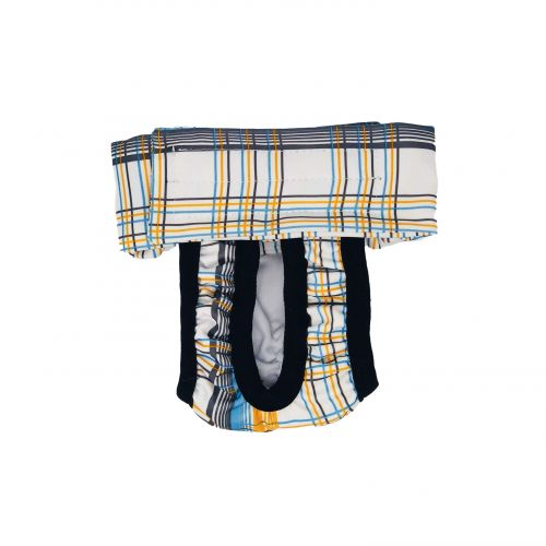 blue and yellow plaid diaper pull-up