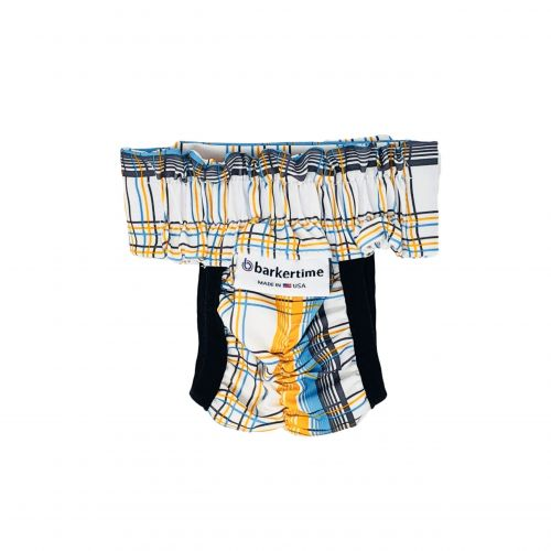 blue and yellow plaid diaper pull-up - back
