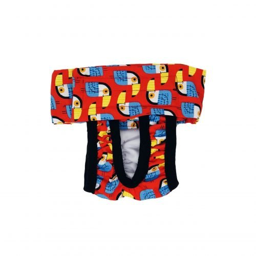 toucan on red diaper pull-up - new