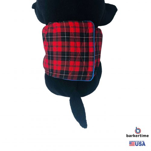 red plaid belly band - model 2