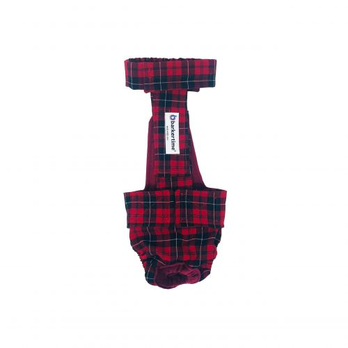 red plaid diaper overall