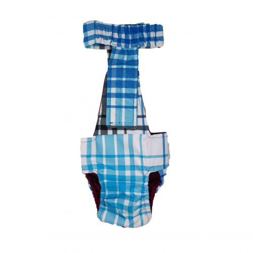 blue plaid waterproof diaper overall - back