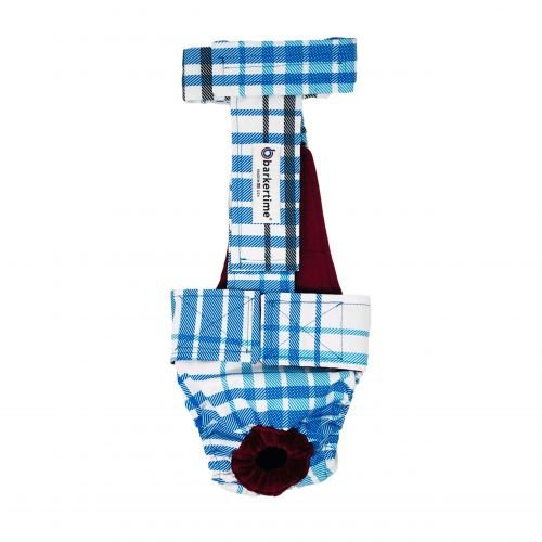 blue plaid waterproof diaper overall