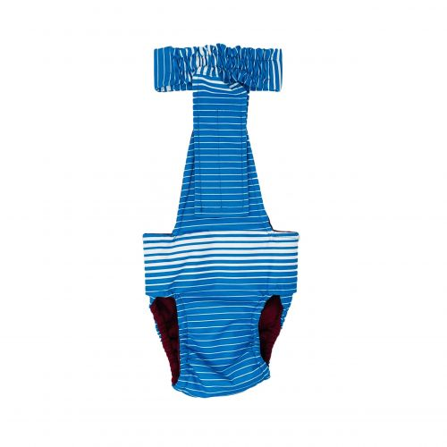blue stripes waterproof diaper overall - back