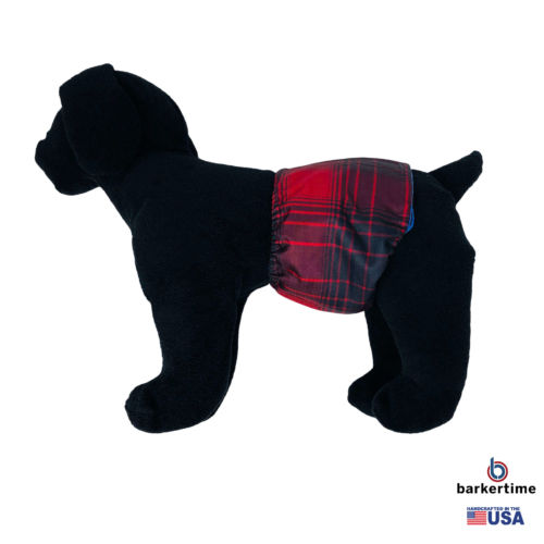 red plaid waterproof belly band - model 1