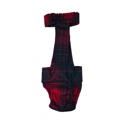 red plaid waterproof diaper overall - back