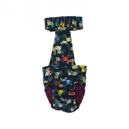 funky dog on black diaper overall - back