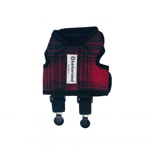 red plaid suspender harness