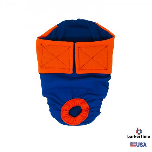 orange on royal blue diaper
