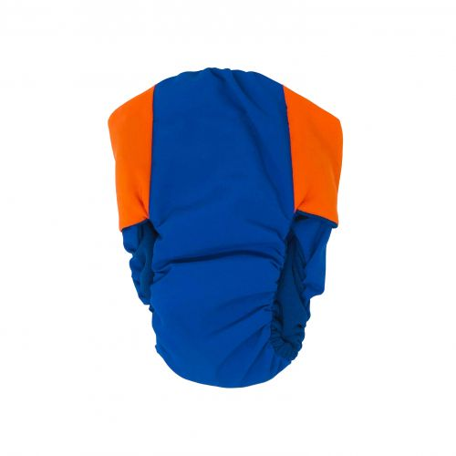 orange on royal blue diaper - back