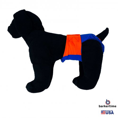 orange on royal blue diaper - model 1