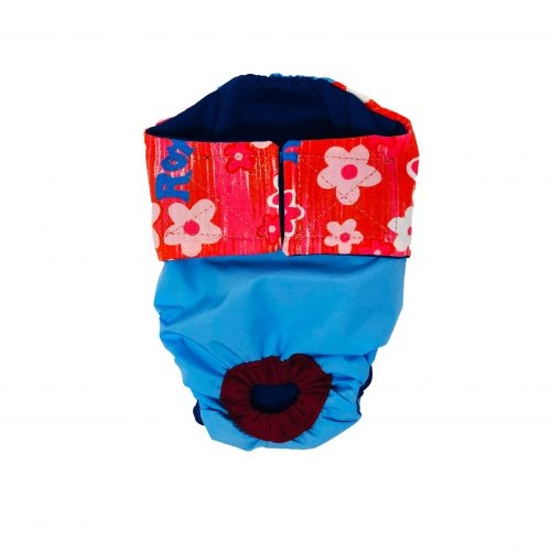 red flowers on sky blue diaper