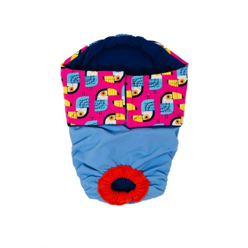toucan pink on sky blue diaper