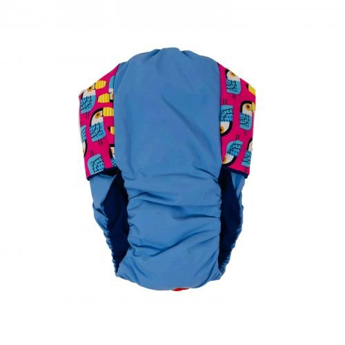 toucan pink on sky blue diaper - back