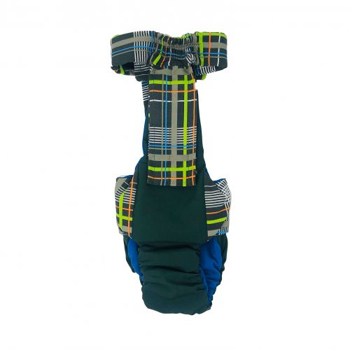 gray plaid neon stripes on green diaper overall - back
