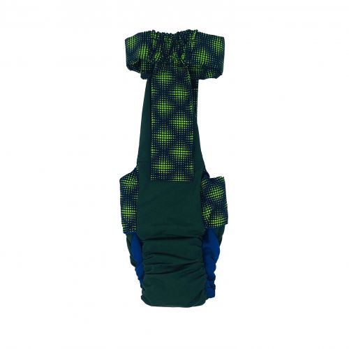 green dots on green diaper overall - back