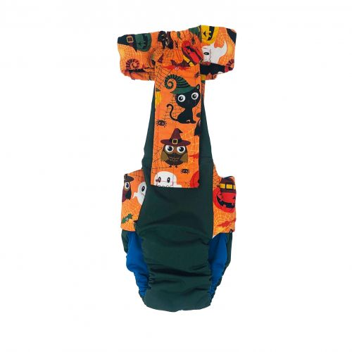 halloween on green diaper overall - back