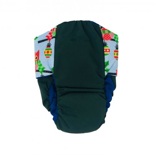 holiday owl on green diaper - back