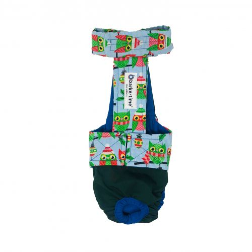 holiday owl on green diaper overall