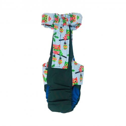 holiday owl on green diaper overall - back