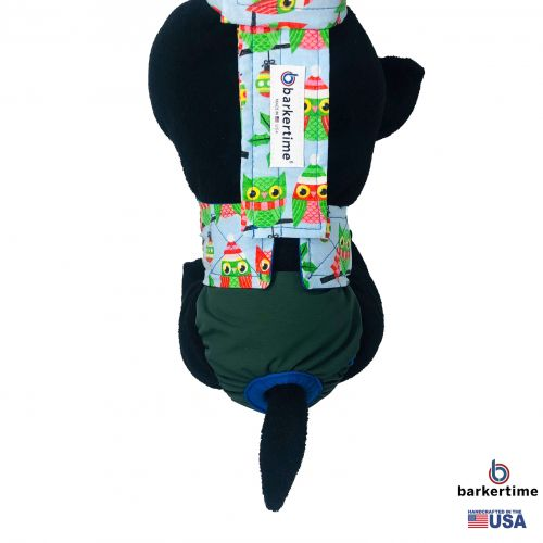 holiday owl on green diaper overall - model 2