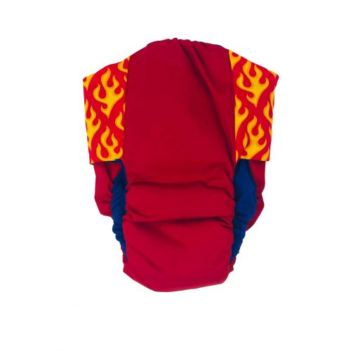hot flames on red diaper - back